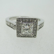 14k White Gold .50ct Princess Cut Diamond Ring with Diamond Halo Size 6 1/4