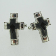 Silver Tone  double Cross Etched Glass with Black Background Cufflinks