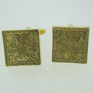 Gold Tone Religious Etched Designed Cufflinks