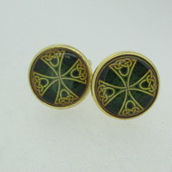 Gold Tone Celtic Cross with Green and Black Accents Cufflinks