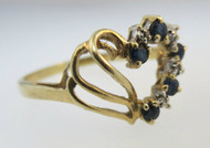 10k Yellow Gold Heart Shaped Sapphire Ring with 4 Single Cut Diamond Accents. Size 8 ½