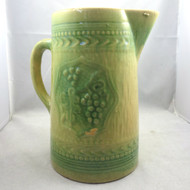 Antique Stoneware Art Pottery Glazed Pitcher Green Patterned Grapes Unmarked