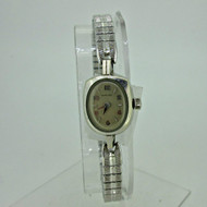 Vintage Hamilton 757 22J 10k White Gold Filled Watch with Stainless Steel Stretchy Band (B6867)