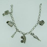Vintage Sterling Silver Swiss Alps Theme 6 Charm Bracelet
