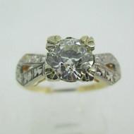 Vintage 14k Yellow Gold 1.02ct European Cut Diamond Ring Size 5 3/4