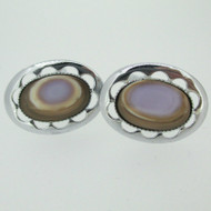 Silver Tone Oval Cufflinks with Clam like Shell Stone Inlay