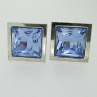 Silver Tone Thompson London Blue Rhinestone Cufflinks