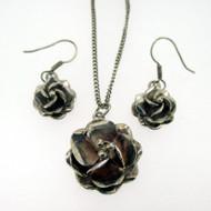Sterling Silver Taxco Flower 3D Necklace Earring Set