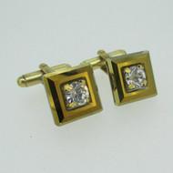 Gold Tone Square Clear Stone Cufflinks
