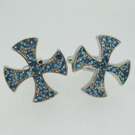 Silver Tone Blue Stone Assassin Creed Cross Cufflinks