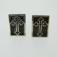 Silver Tone Cross Black Enamel Cufflinks