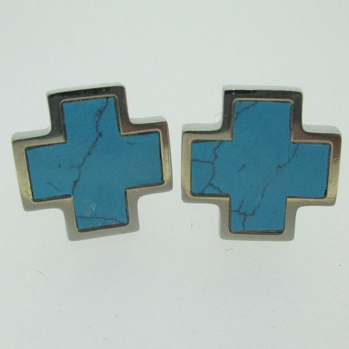 Silver Tone Blue Turquoise Colored Enamel Look Iron Cross Cufflinks