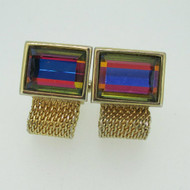Gold Tone Rectangle Multi Colored Stone with Link Chain Cufflinks