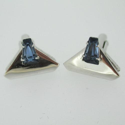 Silver Tone Triangle Shaped with Blue Rhinestone Cufflinks