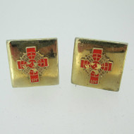 Gold Tone Belfour  SPF Square Cufflinks with Red Enamel Cross