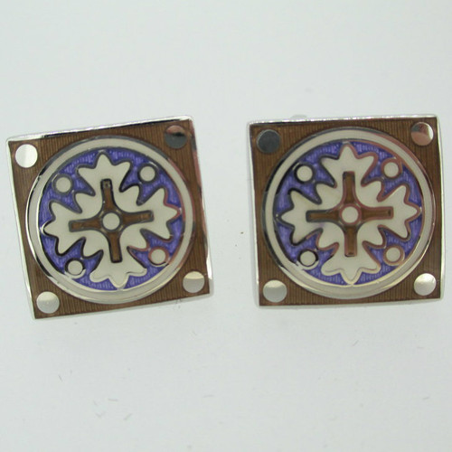 Silver Tone Multi Colored Enamel Inlay Oval Cufflinks