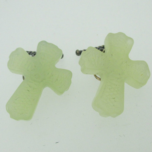Opal Colored Etched Cross Shaped Cufflinks