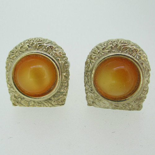 Swank Gold Tone Gold Orange Gold Stone Cufflinks