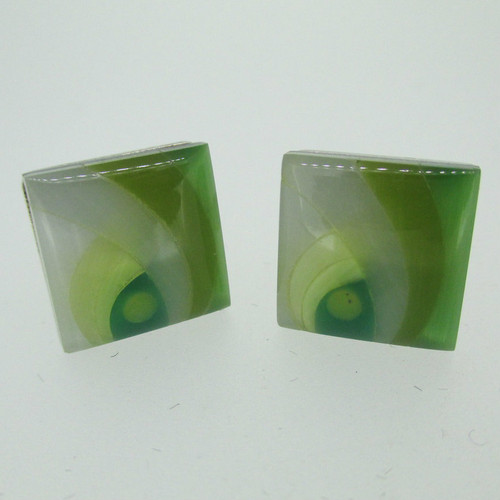Silver Tone Green and White Swirl Stone Pattern Cufflinks