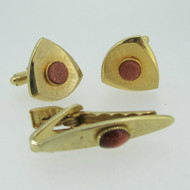 Gold Tone Brushed Triangular Shaped Goldstone Cufflinks Tie Bar