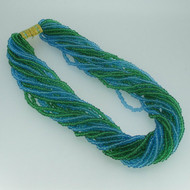 Joan Rivers 18 Multi Strand Green and Blue Twisted Beaded Necklace