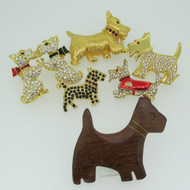 6 Gold Tone and Wood Scottie Westie Terrier Brooch Pins
