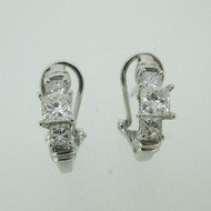 14k White Gold Approx 1.50ct TW Princess Cut Diamond Lever Back Earrings
