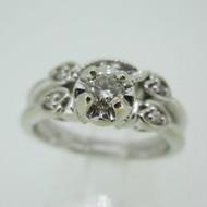 Vintage 14k White Gold Approx .25ct Round Brilliant Cut Diamond Wedding Set Size 8