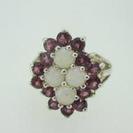 Sterling Silver Rhodalite Garnet Created Opal Ring Size 10