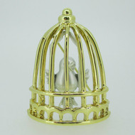 Vintage Gold and Silver Tone Movable Bird in Cage Brooch Pin