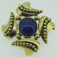 Vintage Carol Dauplaise Gold Tone Speckled Blue Cabochon Swirl Brooch