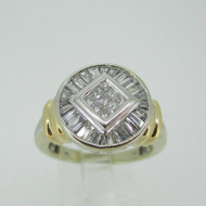 14k White Gold Approx 1.0ct Illusion Cut Diamond Ring with Halo and Yellow Gold Accents Size 9