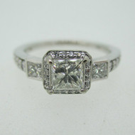 18k Ritani White Gold .73ct Princess Cut Halo Diamond Accented Ring Size 7
