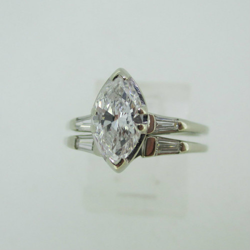 Vintage 14k White Gold Approx .85ct Marquise Cut Diamond with Wedding Band Size 6 1/2