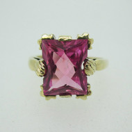 Vintage 10k Yellow Gold Created Pink Stone Ring Size 5