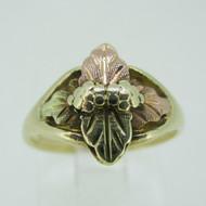 10k Black Hills Gold Grape Leaf Ring Size 4 3/4