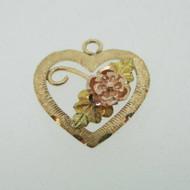 10k Coleman Company Black Hills Gold Rose Leaf Heart Pendent Charm