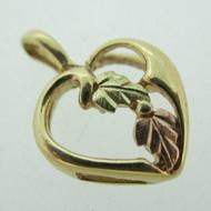 10k Coleman Company Black Hills Gold Grape Leaf Heart Pendent Charm