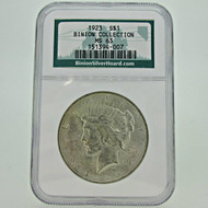 1923 P NGC Binion Collection MS63 Peace Silver Dollar (600388)