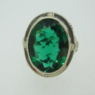 Vintage 14k White Gold Filigree Ring with Green Stone Size 8 1/2