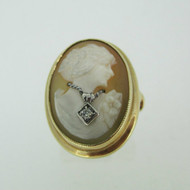 Victorian 10k Yellow Gold Cameo Portrait Ring with Diamond Necklace Accent Size 6 1/4