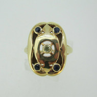 Vintage 14k Yellow Gold Diamond and Sapphire Accented Ring Size 7 3/4