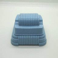 Vintage Art Deco Empty Light Blue Plastic Ring Box with White Inclined Bed