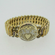 Vintage Two Tone Etched Round Sweetheart Expandable Bracelet
