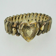 Vintage Etched Heart Gold Tone Sweetheart Expandable Bracelet