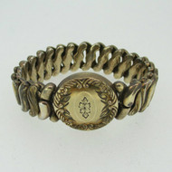 Vintage Etched Round Gold Tone Sweetheart Expandable Bracelet