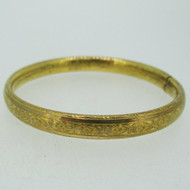 Vintage Gold Tone Flower Design Child Baby Bangle Bracelet