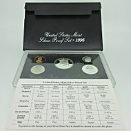 1996 United States Mint Silver Proof Set with Original Box and COA (600396)