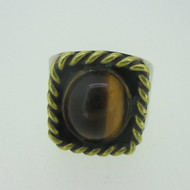 Sterling Silver & Brass Southwest Tiger Eye Ring Size 9