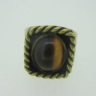 Sterling Silver & Brass Southwest Tiger Eye Ring Size 9